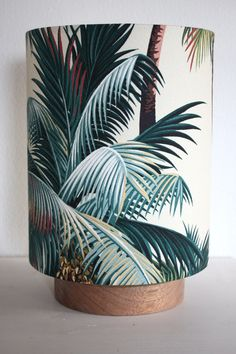 tropical palm tree barkcloth table lamp by homeworksdesignstore, $195.00