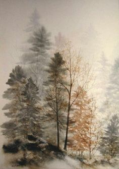 """Watercolor trees ~ from watercolor paintings from """"God's Creation in Art"""" by Mary T. Watercolor Trees, Watercolor Paintings Nature, Bird Paintings, Watercolor Landscape Paintings, Indian Paintings, Watercolor Portraits, Abstract Paintings, Tree Art, Painting Techniques"""