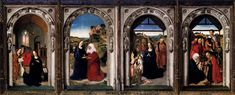 Bouts, Dieric the Elder, Triptych of the Virgin, c. 1445, Oil on wood, 80 x 224 cm, Museo del Prado, Madrid.