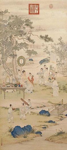 L'imperatore Qianlong esaminando dipinti. Giuseppe Castiglione