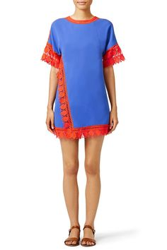 9f63b7b22f6e Blue shift dress with red lace hem. Perfect for a summer wedding brunch!  Tory
