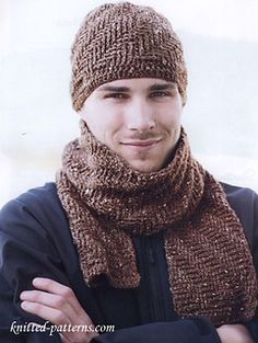 Keep the guy in your life warm with this cozy hat and scarf. Double crochet post stitches combined with soft tweed give this set a texture that looks as plush as it feels.