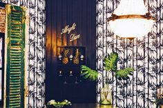 Vintage chandelier, wood panelling in Off Black with bamboo wallpaper from Farrow and Ball. Design by The Other Door Bamboo Wallpaper, Only Fools And Horses, Living Room Bar, Grand Designs, Vintage Chandelier, Panelling, Room Set, Doors, Projects