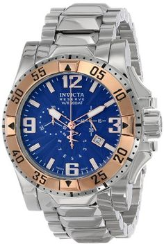 Invicta Men's 10889 Excursion Reserve Chronograph Blue Textured Dial Stainless Steel Watch -- Read more reviews of the product by visiting the link on the image.