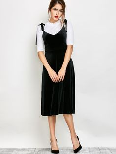 Black Fit and Flare Velvet Pinafore Dress ||