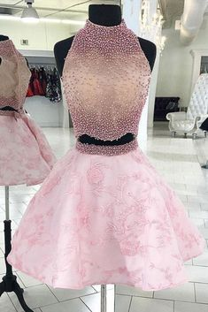 Pink Two Pieces Beads Lace Short Prom Dresses Halter Sleeveless Homecoming Dresses, STG, This dress could be custom made, there are no extra cost to do custom size and color. Ombre Prom Dresses, Burgundy Homecoming Dresses, Two Piece Homecoming Dress, Prom Dresses Two Piece, A Line Prom Dresses, Short Dresses, Dress Prom, Quinceanera Dresses, Formal Dresses