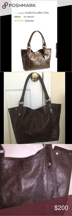 """Frye """"Melissa"""" washed leather tote Good used condition. This is an excellent and durable quality bag. Slate color. Styled after Frye's signature 'Melissa' boot, this classic shoulder bag is crafted in gorgeous washed leather and punctuated with burnished metal buttons. Magnetic-snap closure. Interior zip, wall and smartphone pockets. Stripe lining. Leather. By Frye; imported. 13""""W x 12""""H x 5""""D. (Interior capacity: medium.) 10"""" strap drop. 2.0 lbs. Note that this bag is meant to have a…"""