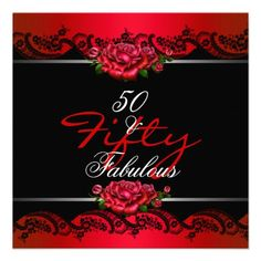 50  Fabulous 50th Birthday Party Red Roses Announcements