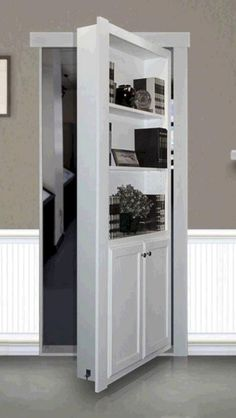 This unit installs in place of existing door of a opening and transforms an ordinary doorway into a secret passage or hidden door maximizing square footage storage space in your home or office. Bathroom Doors, Basement Bathroom, Bathroom Small, Bathroom Ideas, Shower Ideas, Remodel Bathroom, Bathroom Storage, Basement Closet, Basement Entrance