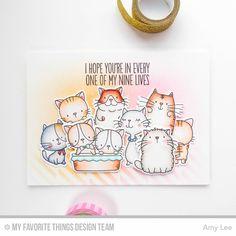 MFT Cool Cat; repeat stamping; masking; nine lives; pastel; kittens; DIB; stencil