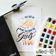 You get in life what you have the guts to do. #filedxcalligrafikas #filed2016planners #filedwonderlust #calligrafikas #grafikas #dreweuropeo #moderncalligraphy #lettering #handlettering #brushlettering #watercolor Paper: Canson 200gsm Paint: Van Gogh watercolors Brush: Silver Brush Black Velvet round no 2 & @craftdoodleph waterbrush