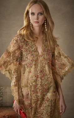 Beaded Floral Caftan by MARCHESA for Preorder on Moda Operandi