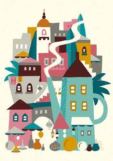 ミントティーの町_suzuki tomoko Advent Calendar, Diy And Crafts, Scene, Kids Rugs, Graphic Design, Art Prints, Comics, Holiday Decor, Illustration