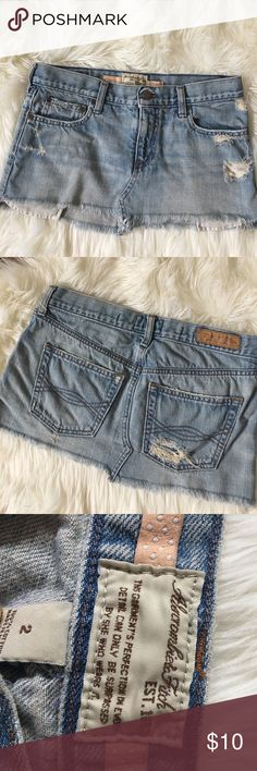 Abercrombie & fitch jean skirt Distressed size 2. GUC bundle and save on shipping! Abercrombie & Fitch Skirts Mini