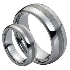 Men & Ladies 8MM/6MM Tungsten Carbide Classic Domed with Brushed Center Wedding Band Ring Set, Size: Ladies Size 5.5 - Mens Size 8.5, cobalt