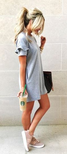 #fall #outfits women's gray longline shirt and gray sneakers