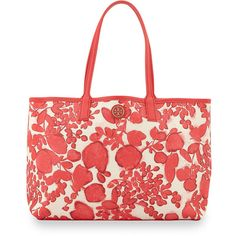 Tory Burch Kerrington Floral-Print Shopper Bag ($295) ❤ liked on Polyvore featuring bags, handbags, tote bags, issy, tory burch handbags, red tote bag, tory burch purse, shopping tote bags and tory burch tote