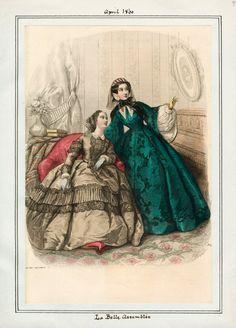 In the Swan's Shadow: La Belle Assemblee, April Civil War Era Fashion Plate Civil War Fashion, 1800s Fashion, 19th Century Fashion, Edwardian Fashion, Vintage Fashion, Medieval Fashion, Steampunk Fashion, Gothic Fashion, Historical Costume
