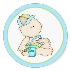 Baby Boy with Toothbrush & Floss Round Stickers