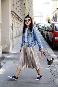 Metallic Pleated Skirt | Denim Jacket | Fendi Lookalike Bag Strap | Fendi Iridia Sunglasses | Fashionnes