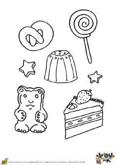 Un Bretzel, une sucette et un ours en guimauve, à colorier