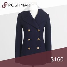 """New JCREW Navy Wool Majesty PeaCoat Coat Current season! Sold Out! This new navy blue wool peacoat from JCREW Factory features gold tones button closures, side slot pockets and is fully lined. Made of a wool blend. Measures: bust: 37"""", total length: 27"""", sleeves: 24"""" J. Crew Factory Jackets & Coats Pea Coats"""