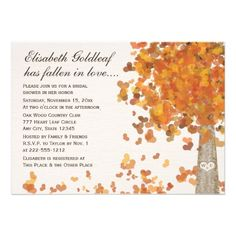 This is so pretty! The leaves are little hearts! Carved Initials Tree Fall or Autumn Bridal Shower Invitation on Zazzle