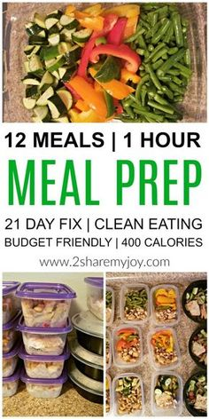 Meal Prep: 12 healthy lunches in 1 hour. Make these healthy clean eating meal prep recipes in 1 hour and have lunch ready for the week. You can put them in the freezer, they are great for weight loss (400 calorie lunch), for bodybuilding, to save time, an