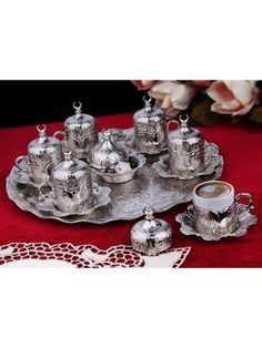 Osmanlı Motifli Lalezar 6 Kişilik Kahve Fincanı Seti - Gümüş