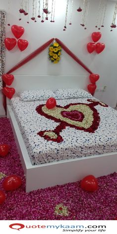 Best Romantic Room Decoration ideas for an unforgettable evening. Surprise your partner with our exciting romantic room decor & set up just for you two. Romantic Room Decoration, Romantic Bedroom Decor, Balloon Decorations, Wedding Decorations, Vintage Wedding Flowers, Rangoli Designs, Rose Petals, Balloons, Anniversary