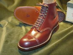 Pre-War, Circa 1930 Double Hand-Sewn, Navvy Cut, Cap-Toe, Engineer Boot by STAR BRAND