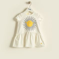 COSTELLO Organic Cotton Baby Girls Applique Dress - Sunshine | Pinned by www.thebonniemob.com | British designer baby and kids wear, cool kids style for summer holiday ideas | The bonnie mob ship free* worldwide.