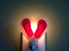 Fused Glass Red Flip Flop Heart Night Light by LaGlasSea on Etsy