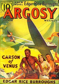 RUDOLPH BELARSKI - art for Carson of Venus by Edgar Rice Burroughs - Jan 1938 Argosy