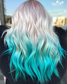 32 Cute Dyed Haircuts To Try Right Now Mermaid hair Cool hair cute hair colors - Hair Color Cute Hair Colors, Pretty Hair Color, Hair Dye Colors, Hair Color For Kids, Blue Ombre Hair, Dyed Hair Pastel, Violet Hair, Blonde Hair With Blue Highlights, Blue Dip Dye Hair