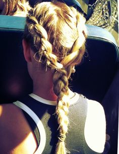 Perfect athletic hairstyle! Two braids that merge into one.
