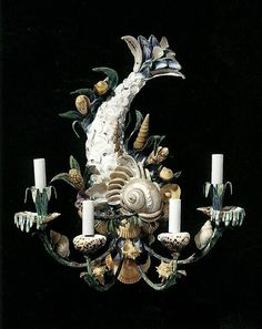 Shell-Adorned Toleware Sconces by Maison Jansen, c. 1950-1965