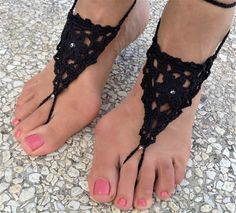 Black Barefoot Sandal, Feet thongs, Crochet Foot jewelry, Women's Fashion Accessory, Nude shoes, Gift for her, Wedding shoes, Beach Wedding by TheSpinningJennyShop on Etsy