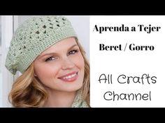 How to Crochet easy beret - (Redheart pattern ) - Yolanda Soto Lopez Crochet Beret Pattern, Crochet Hat Tutorial, Bonnet Crochet, Crochet Patterns For Beginners, Crochet Basics, Crochet Scarves, Crochet Hats, Crochet Slouchy Beanie, Quick Crochet