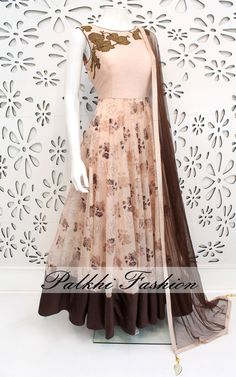 PalkhiFashion Exclusive Full Flair Rose WoodColored OutfitHighlighted With Precisely made Stone Work On top With Elegant EmbossedPrint & Work.