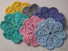 gehaakte bloem onderzetters, haken, crochet