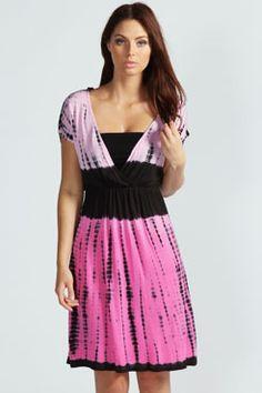 Kylie Tie Dye Jersey V Neck Dress