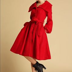 Red wool swing coat Size: L (US 14) - Women  I bought it and sent my measurements and the sleeves were not long enough and it was too tight around my bust so it's brand new, never left the closet. It would have been too expensive to send it back. Jackets & Coats Pea Coats