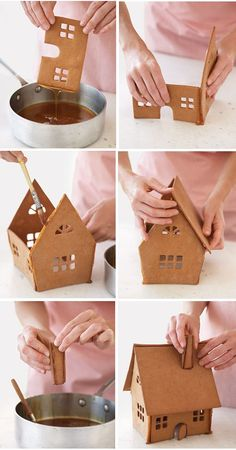 "*Once you've rolled, cut, and baked the cookie house's walls, roof, and other details using our Swedish Gingerbread House Recipe, a caramel syrup serves as the ""glue."" To assemble: Dip one edge of front piece in caramel, and allow excess to drip off. Coat only the edge that will be joined."