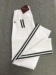 Spodnie z lampasem Cevlar BL03 kolor biały - Big Sister