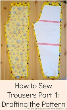 Sewing Machine Tutorial how to draft a trouser pattern Pattern Drafting Tutorials, Easy Sewing Patterns, Pattern Sewing, Sewing Pants, Sewing Clothes, Doll Clothes, Doll Dress Patterns, Clothing Patterns, Shirt Patterns