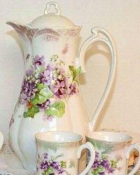 Antique German Porcelain Chocolate Pot Set Violets-Lilly of the Valley, Art Noveau, floral,Lavender, Purple, lustre,Victorian, cups,