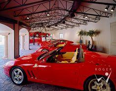 roger wade studio architectural photography of luxury ferrari garage, private home, tucson, arizona, by seaver franks architects & dorado design