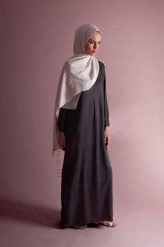 INAYAH | Effortless modest style - Charcoal Tailored #Maxi #Shirt + Oatmeal Soft Crepe #Hijab - www.inayah.co
