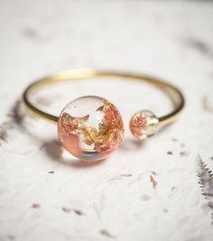 Gold Globe Resin Statement Cuff Sun Moon Bracelet Rose Yellow Gold Flakes Spere Orb Bangle OOAK modern jewelry eco friendly
